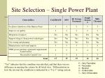 site selection single power plant