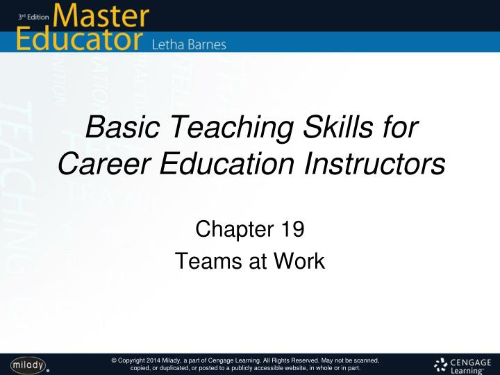 basic teaching skills for career education instructors n.
