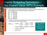 capital budgeting techniques net present value npv example