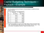capital budgeting techniques payback example
