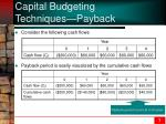 capital budgeting techniques payback1