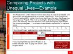 comparing projects with unequal lives example1