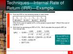techniques internal rate of return irr example