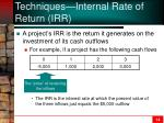 techniques internal rate of return irr