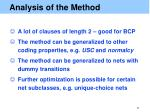 analysis of the method