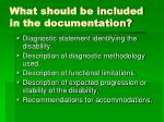 what should be included in the documentation