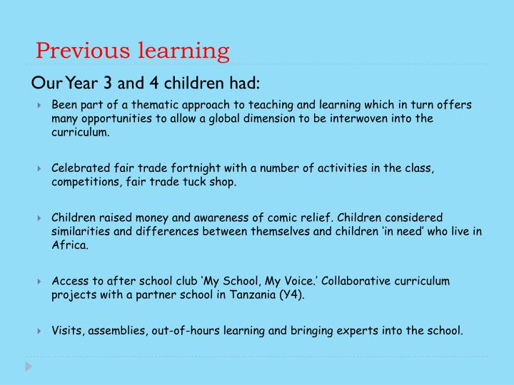 Previous learning
