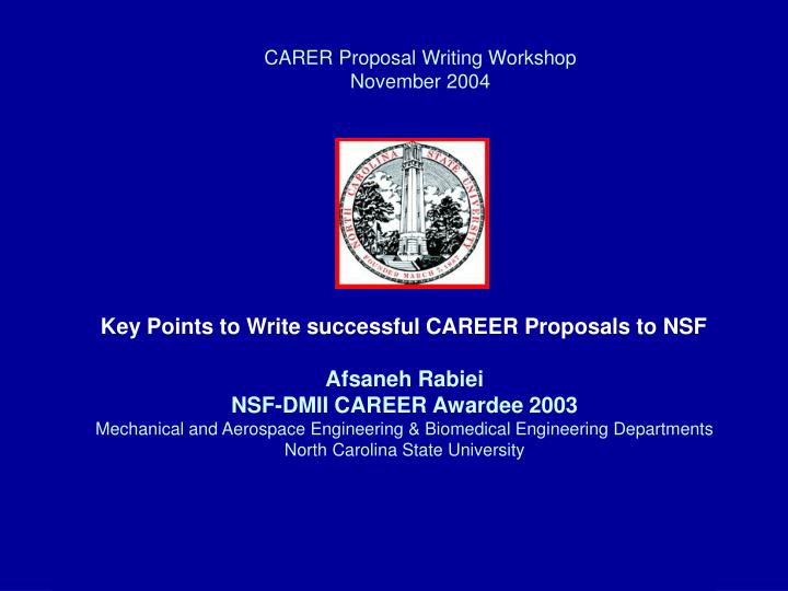 carer proposal writing workshop november 2004 n.