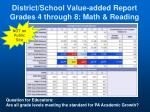 district school value added report grades 4 through 8 math reading