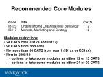 recommended core modules
