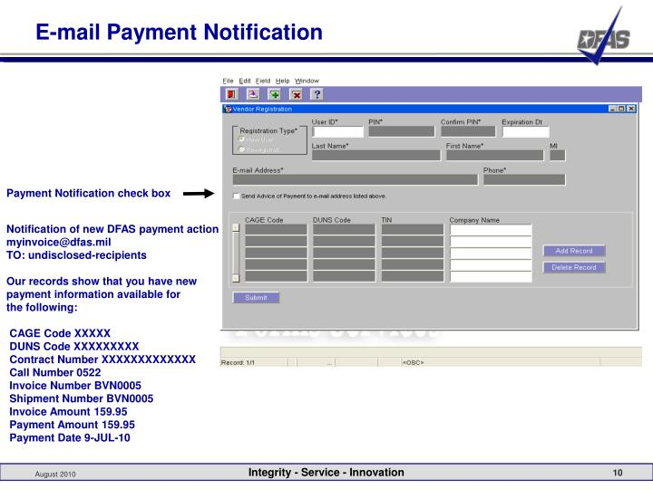 E-mail Payment Notification