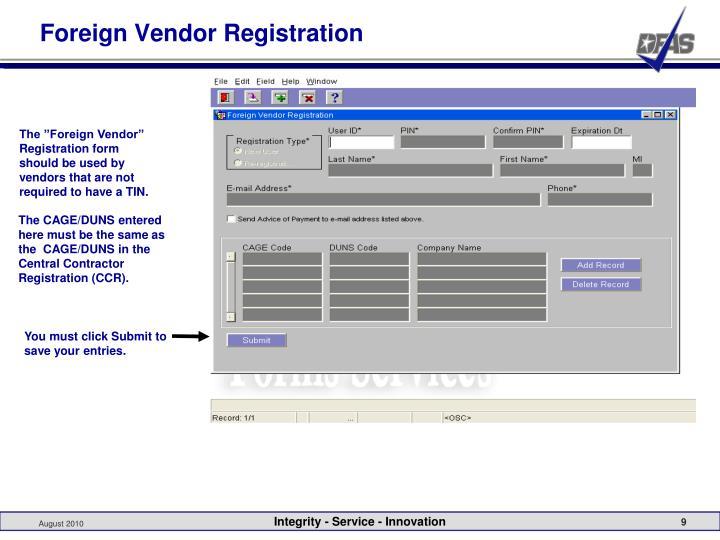 Foreign Vendor Registration