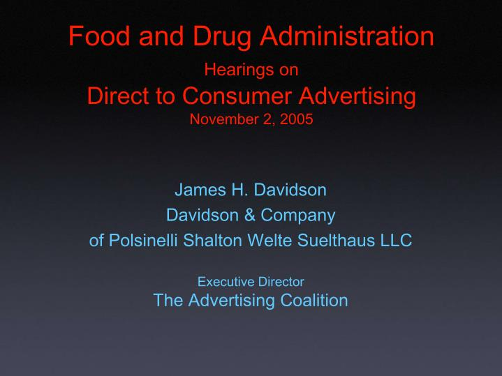 food and drug administration hearings on direct to consumer advertising november 2 2005 n.