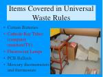 items covered in universal waste rules
