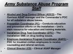 army substance abuse program staff