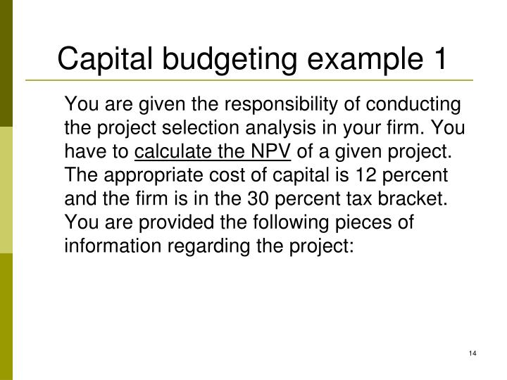 Capital budgeting example 1
