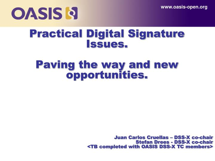 practical digital signature issues paving the way and new opportunities n.
