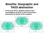 benefits geographic and tags abstraction