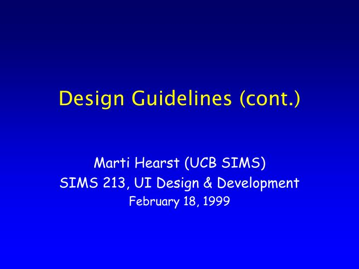 design guidelines cont n.