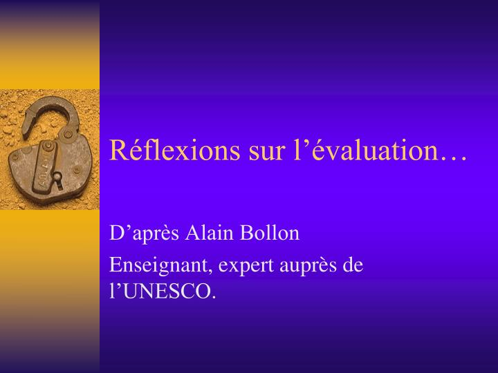 r flexions sur l valuation n.