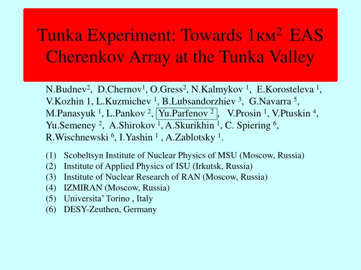tunka experiment towards 1 2 eas cherenkov array at the tunka valley n.