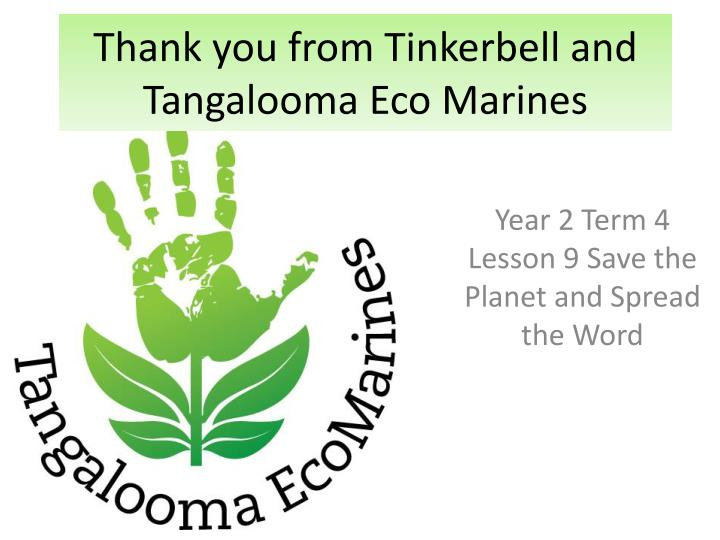 thank you from tinkerbell and tangalooma eco marines n.