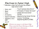 electives in junior high indicates a class that will give the student high school credit