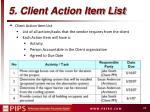 5 client action item list