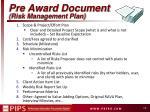 pre award document risk management plan
