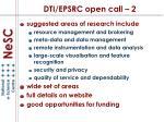 dti epsrc open call 2