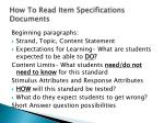 how to read item specifications documents