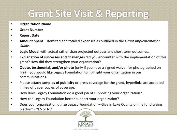 Grant Site Visit & Reporting