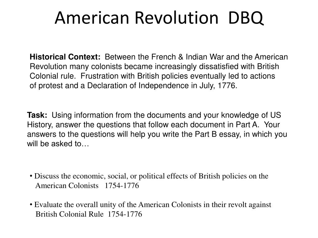 Writing Essay Papers American Revolution Dbq N Apa Format For Essay Paper also Essay Proposal Format Ppt  American Revolution Dbq Powerpoint Presentation  Id Essay On Business Ethics