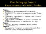 peer pedagogy project requirements on wiki folder