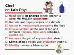 chef on lab day