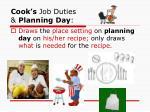 cook s job duties planning day