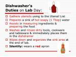 dishwasher s duties o n lab day