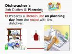 dishwasher s job duties plan ning