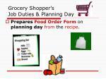 grocery shopper s job duties planning day
