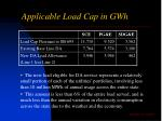 applicable load cap in gwh