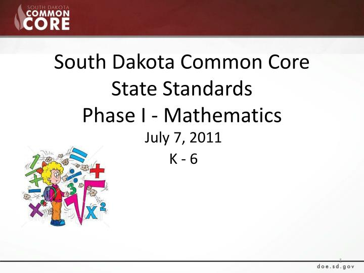 south dakota common core state standards phase i mathematics n.