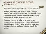 mengukur tingkat return portofolio