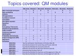 topics covered qm modules