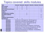 topics covered skills modules
