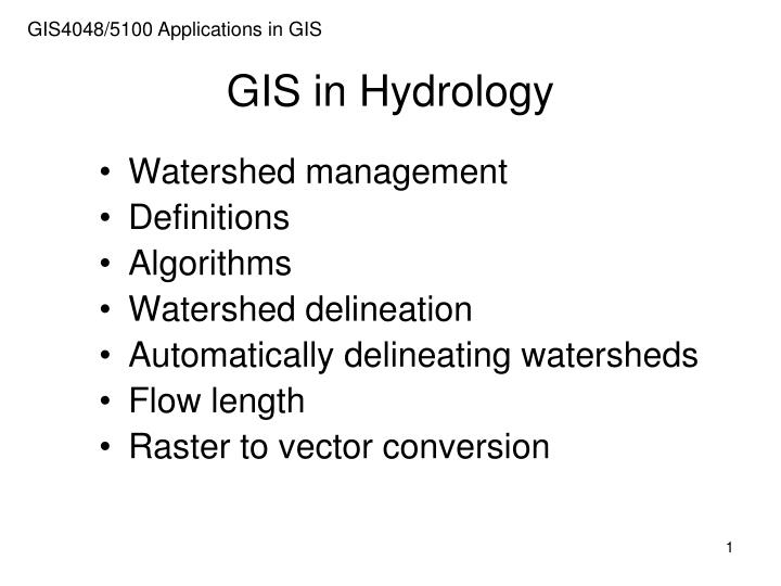 gis in hydrology n.