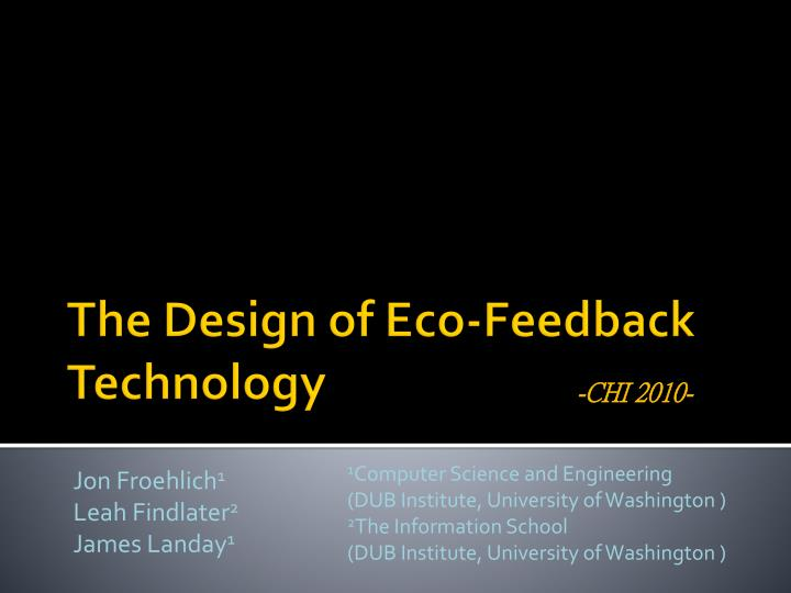 the design of eco feedback technology n.
