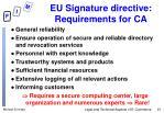eu signature directive requirements for ca