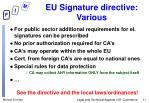 eu signature directive various