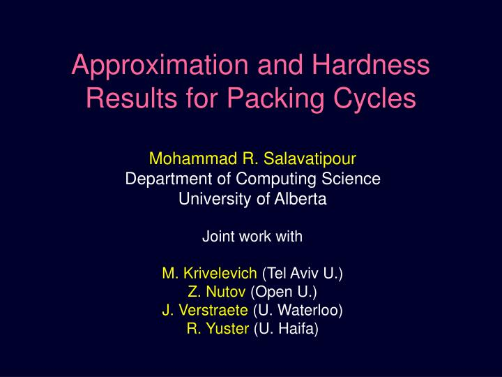 approximation and hardness results for packing cycles n.