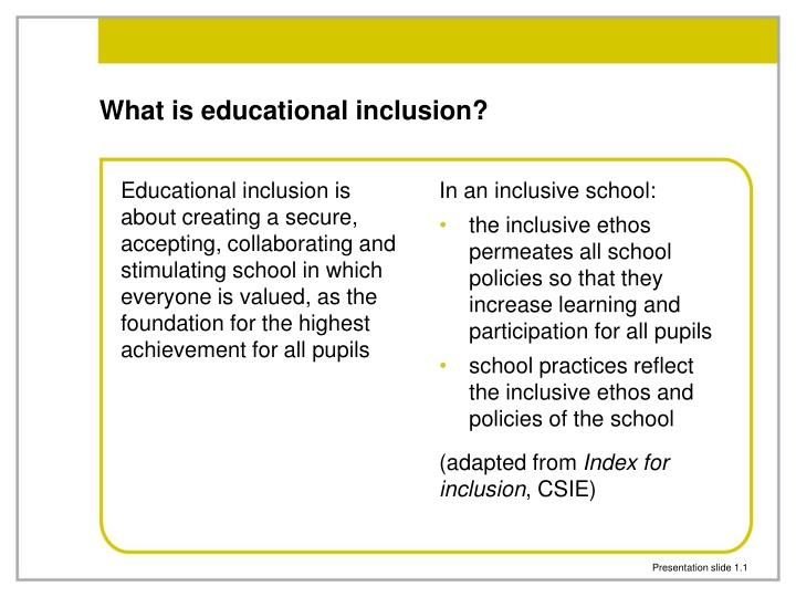 what is inclusive education? essay Inclusive education is concerned with the education and accommodation of all children in society, regardless of their physical, intellectual, social, or linguistic deficits inclusion should also include children from disadvantaged groups, of all races and cultures as well as the gifted and the disabled (unesco, 2003.